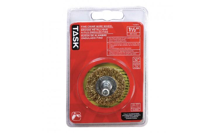 "1-1/2"" Fine Brass Coated Steel Crimp Wire Wheel - 1/pack"