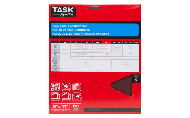 """9"""" x 11"""" 120 Grit Fine Task Signature Heavy Duty - 5/pack"""