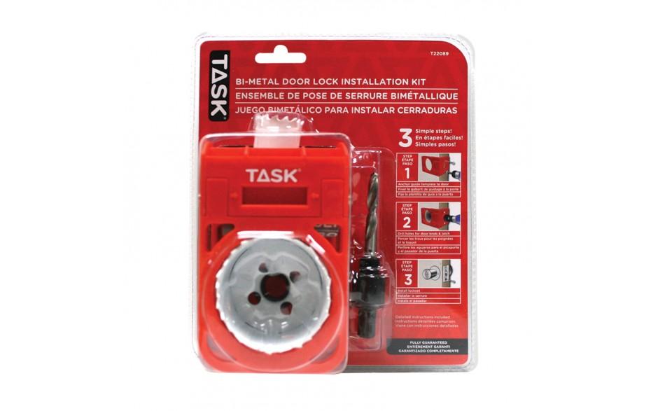 4pc Deep Cut Bi-Metal Door Lock Installation Kit with Plastic Template Guide - Clamshell