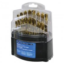 29pc Ti-N Coated HSS Drill Bit Set - Plastic Index Box