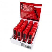 Metal Trapezoid Blade Knife with Rubber Grip - 24 per Display Box