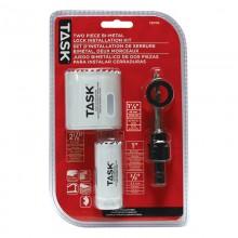 3pc Deep Cut Bi-Metal Door Lock Installation Kit - Clamshell