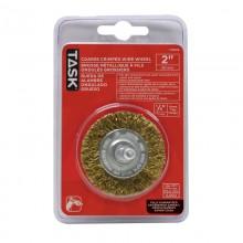 "2"" Coarse Brass Coated Steel Crimp Wire Wheel - 1/pack"