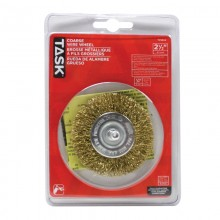 "2-1/2"" Coarse Brass Coated Steel Crimp Wire Wheel - 1/pack"