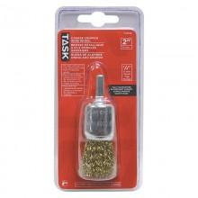 "1"" Coarse Brass Coated Steel Crimp End Brush - 1/pack"