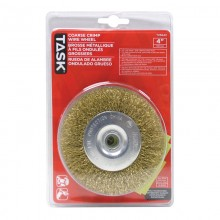 "4"" Coarse Brass Coated Steel Crimp Wire Wheel with 1/2"" Arbor Hole - 1/pack"