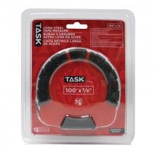"100' x 3/8"" Long Steel Tape with Rubber Grip & 3X Gear - 1/pack"