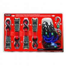 22pc Ratcheting Tie Downs & Heavy Duty Bungee Cords Set - Clamshell