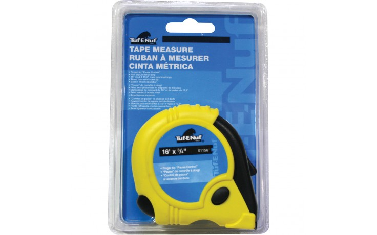 "16' x 3/4"" Rubber Jacket Tape Measure - 1/pack"