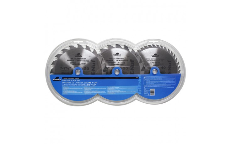 "3pc 7-1/4"" ATB Circular Saw Blade Set - Clamshell"