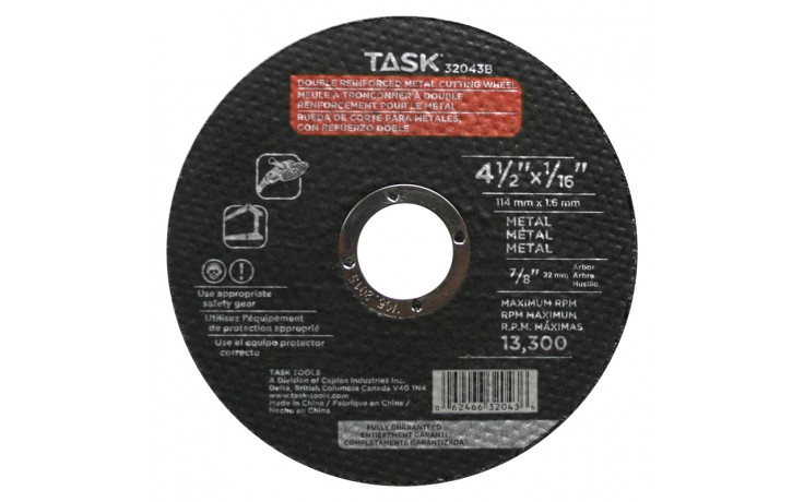 "4-1/2"" x 1/16"" 7/8"" Arbor Metal Cutting Wheel - Bulk"