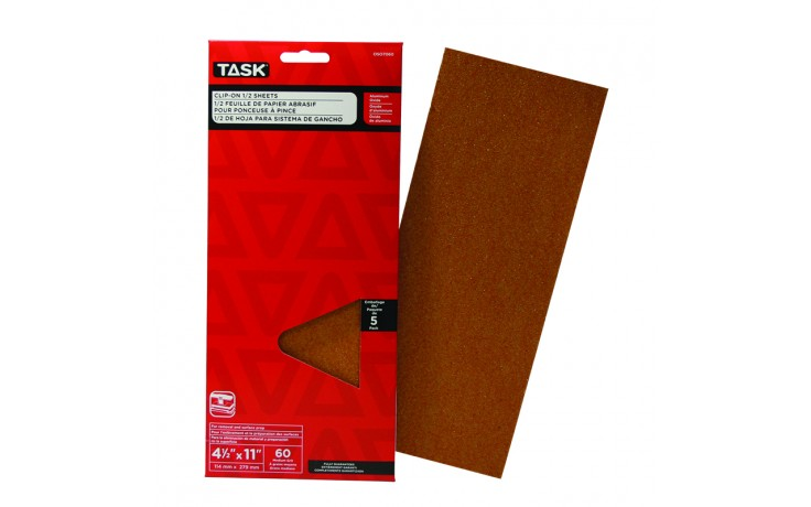 "4-1/2"" x 11"" 60 Grit Medium Aluminum Oxide 1/2 Clip-On Sheets - 5/pack"