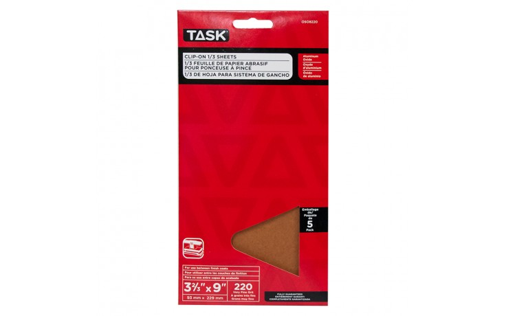 """3-2/3"""" x 9"""" 220 Grit Very Fine Aluminum Oxide 1/3 Clip-On Sheets - 5/pack"""