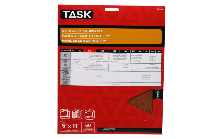 "9"" x 11"" 60 Grit Medium Garn-Alum Sandpaper - 3/pack"