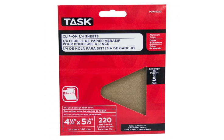 """4-1/2"""" x 5-1/2"""" 220 Grit Very Fine Aluminum Oxide 1/4 Clip-On Sheets - 5/pack"""