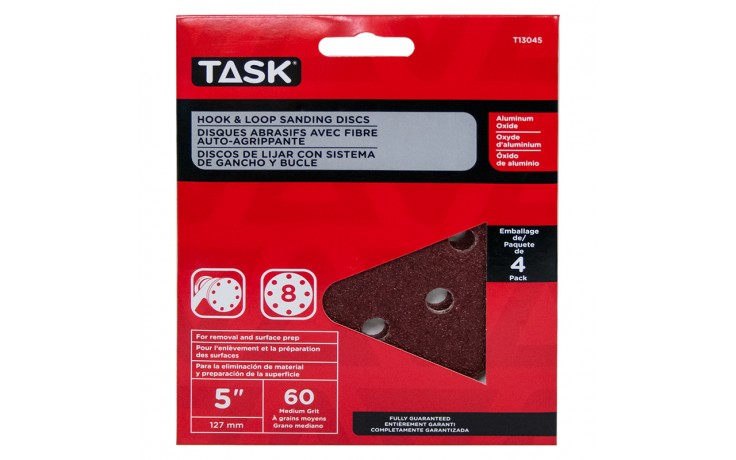 "5"" 8 Hole 60 Grit Hook & Loop Sanding Discs - 4/pack"