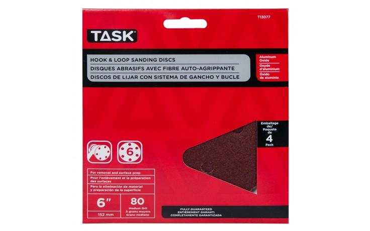 """6"""" 6 Hole 80 Grit Hook & Loop Sanding Discs - 4/pack"""