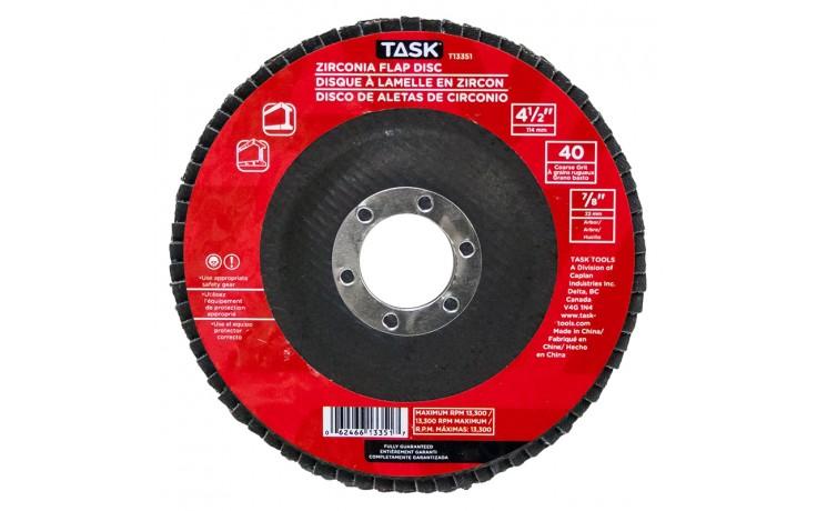 """4-1/2"""" 40 Grit 7/8"""" Arbor Alumina Zirconia Flap Discs - Bulk"""