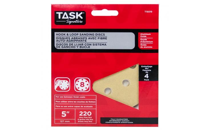 """5"""" 8 Hole 220 Grit Hook & Loop Sanding Discs - 4/pack"""