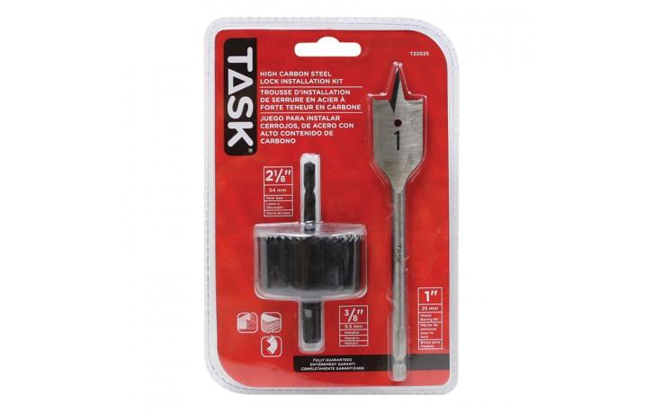 3pc Carbon Steel Door Lock Installation Kit - Clamshell
