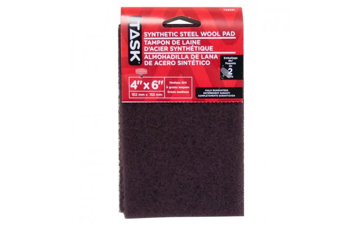 """4"""" x 6"""" Medium Maroon Synthetic Steel Wool Pad - 2/pack"""