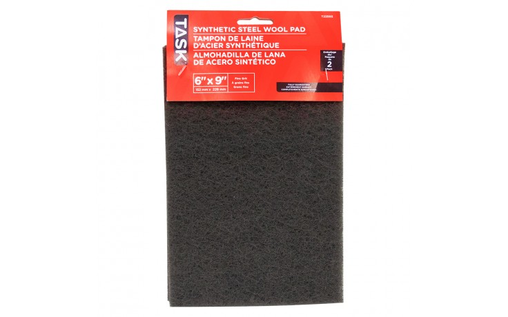 """6"""" x 9"""" Fine Grey Synthetic Steel Wool Pad - 2/pack"""