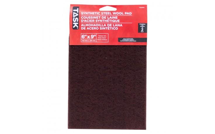 """6"""" x 9"""" Medium Maroon Synthetic Steel Wool Pad - 2/pack"""