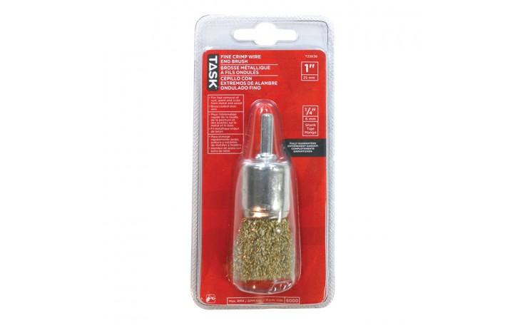 """1"""" Fine Brass Coated Steel Crimp End Brush - 1/pack"""