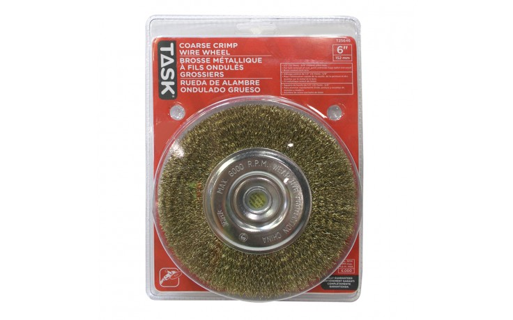 "6"" Coarse Brass Coated Steel Crimp Wire Wheel with 1/2"" & 5/8"" Arbor Hole - 1/pack"