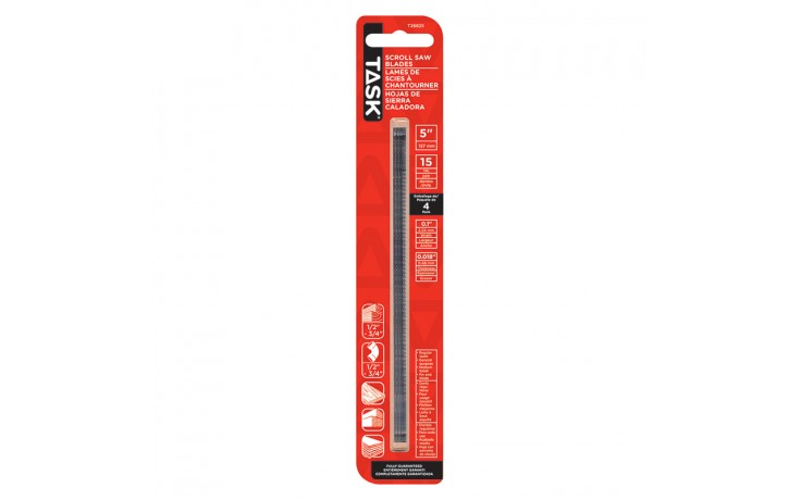 "5"" Pin End .018 x .100 x 15T Scroll Saw Blades - 4/pack"