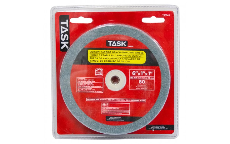 """6"""" x 1"""" 80 Grit 1"""" Arbor 6"""" x 1"""" x 1"""" arb - Silicon Carbide Grinding Wh-Med.-80 Gr - 1/pack"""