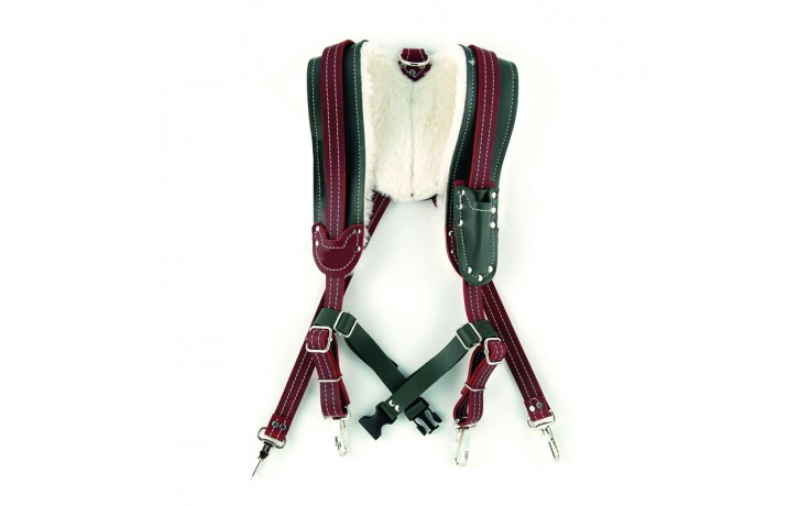 Green & Burgundy Sheepskin Lined Suspender Harnesses - 1/pack