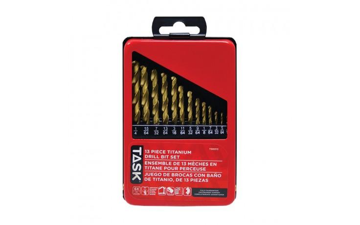 13pc Ti-N Coated HSS Drill Bit Set - Metal Index Box