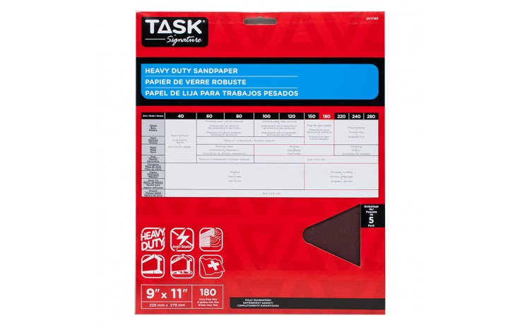 "9"" x 11"" 180 Grit Very Fine Task Signature Heavy Duty - 5/pack"