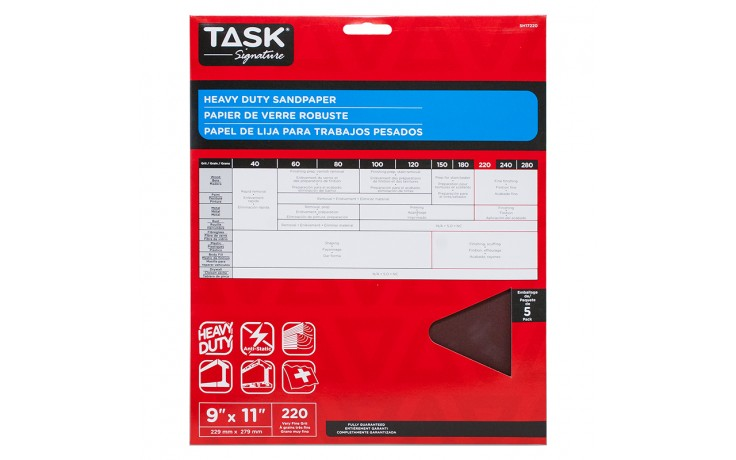 "9"" x 11"" 220 Grit Very Fine Task Signature Heavy Duty - 5/pack"