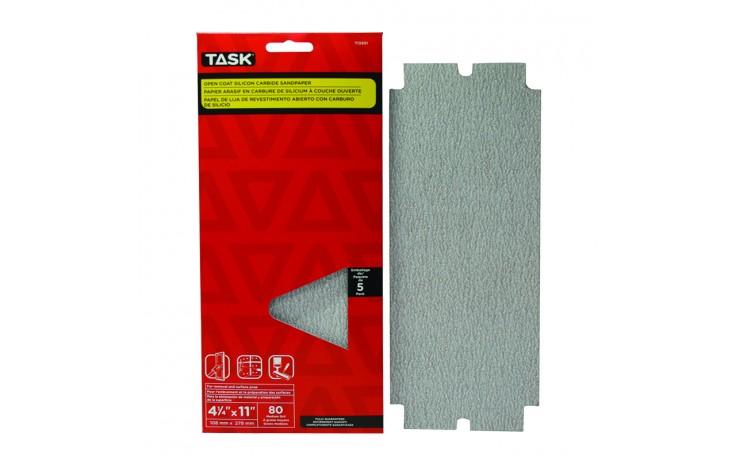 "4-1/4"" x 11"" 80 grit Medium Drywall Sandpaper - 5/pack"