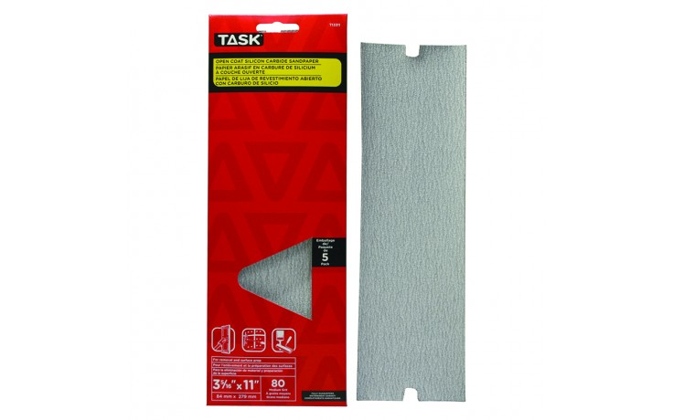 "3-5/16"" x 11"" 80 Grit Medium Drywall Sandpaper - 5/pack"