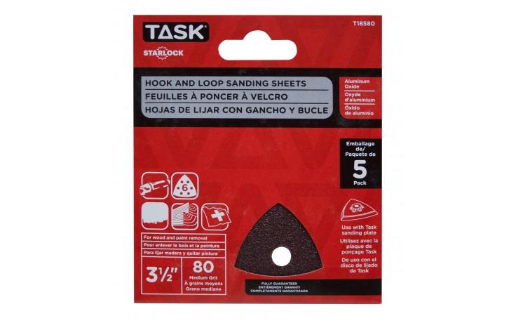 "3 1/2"" 6 hole 80 grit Starlock Sanding Sheets - 5/pack"
