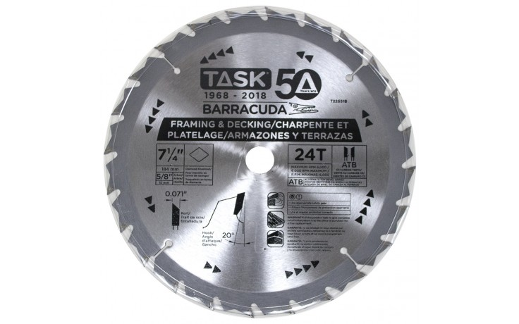 "7-1/4"" 24T ATB Barracuda Thin Kerf Framing Blade – Bulk"