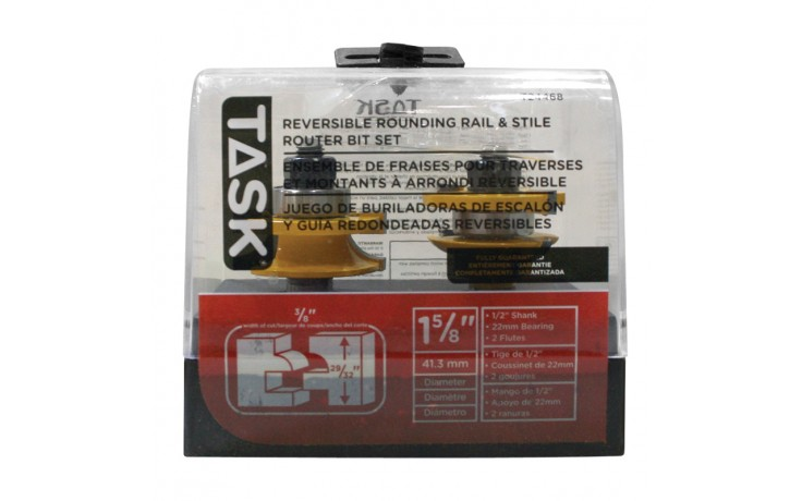 """Revesible Rail & Style 22mm Bearing, Round - 3/8"""" x 29/32"""" Carbide Ht. 1/2"""" Shank Router Bit - 1/pack"""
