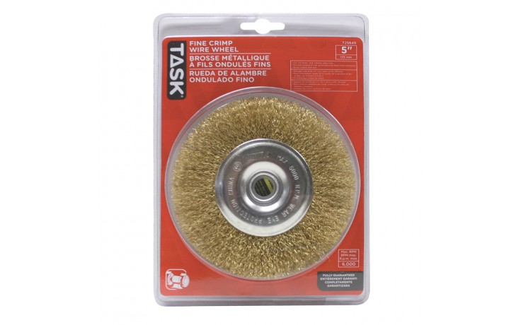"5"" Fine Brass Coated Steel Crimp Wire Wheel with 1/2"" & 5/8"" Arbor Hole - 1/pack"