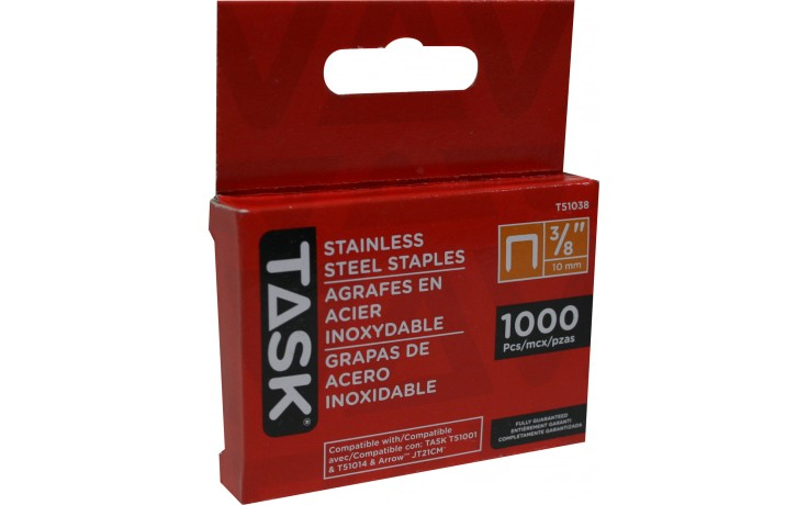 "3/8"" (10mm) Stainless Steel Staples - 1000/pack"
