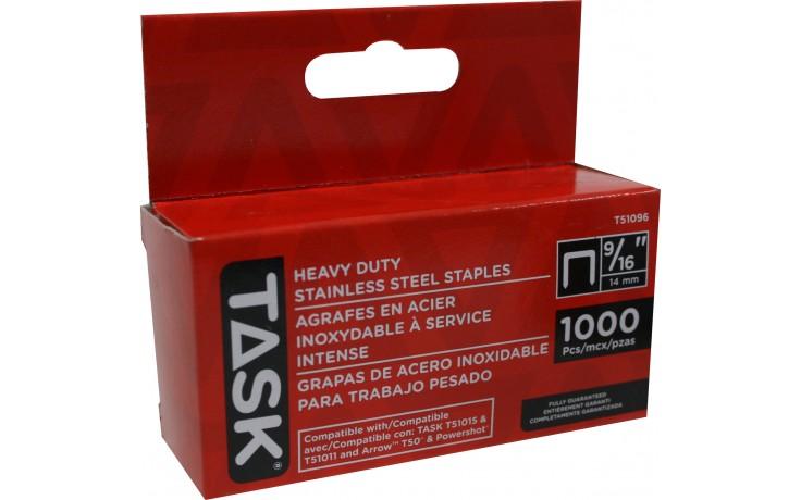 "9/16"" (14mm) Heavy Duty Stainless Steel Staples - 1000/pack"