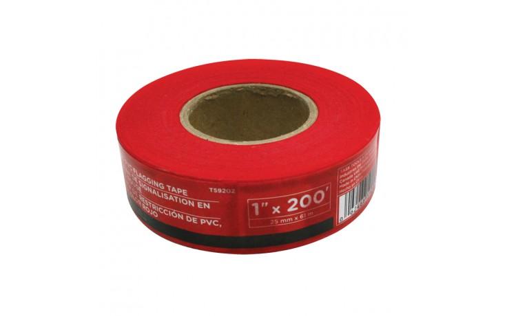 "1"" x 200' Red PVC Flagging Tape"