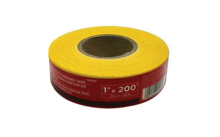 "1"" x 200' Yellow PVC Flagging Tape"