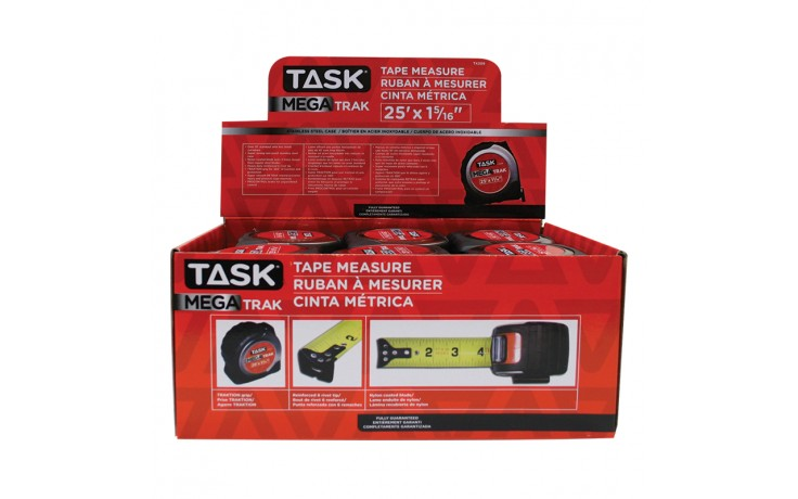 "25' x 1-5/16"" MegaTrak Stainless Steel Tape Measure - 12 per Display Box"
