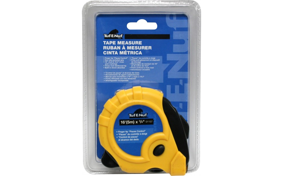 "16' (5m) x 3/4"" Rubber Jacket Tape Measure - 1/pack"