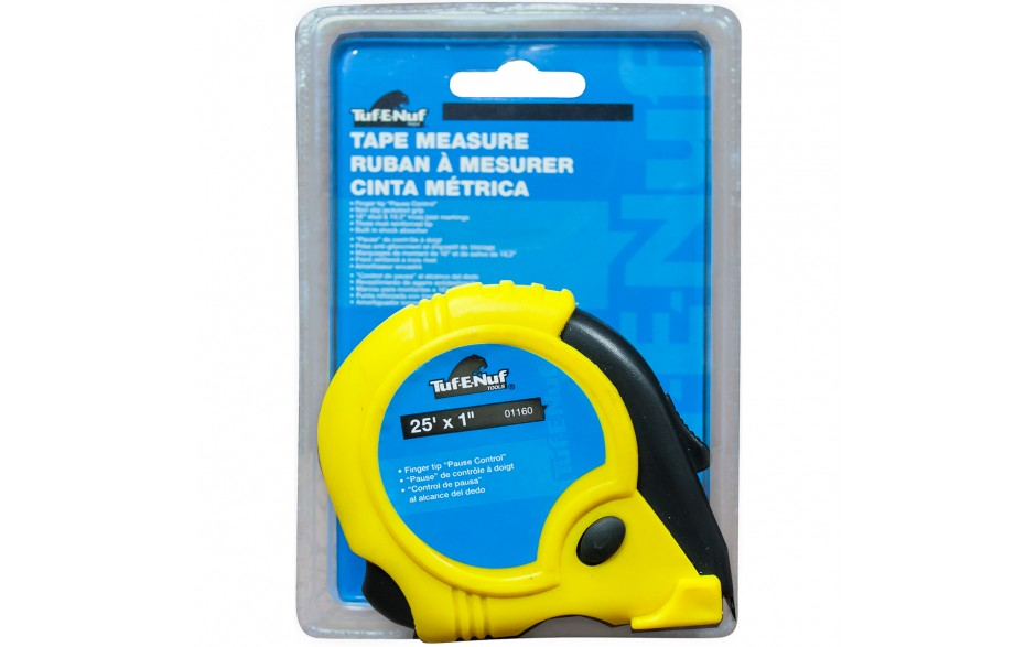 """25' x 1"""" Rubber Jacket Tape Measure - 1/pack"""
