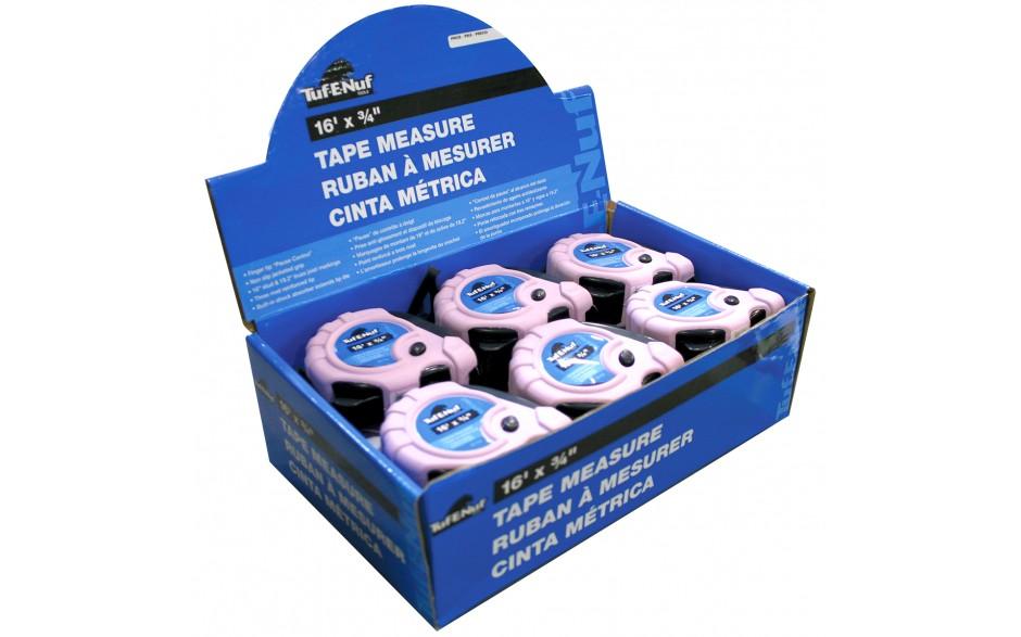 "16' x 3/4"" Rubber Jacket Tape Measure - 12 per Display Box"