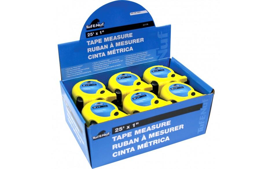 "25' x 1"" Rubber Jacket Tape Measure - 12 per Display Box"
